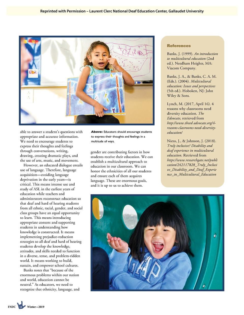 Reprinted with Permission     Laurent Clerc National Deaf Education Center, Gallaudet University  References Banks, J.  19...