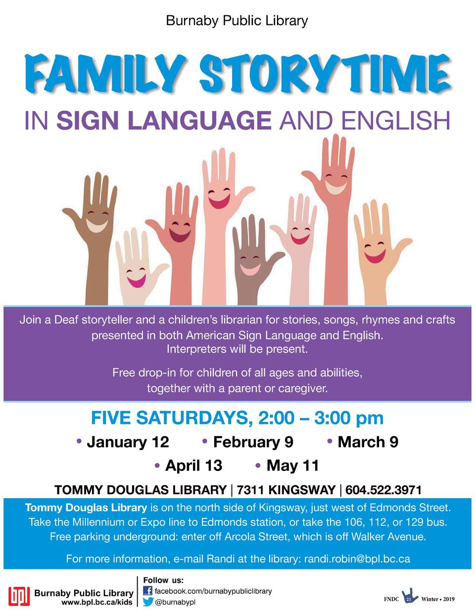 Burnaby Public Library  FAMILY STORYTIME IN SIGN LANGUAGE AND ENGLISH  Join a Deaf storyteller and a children   s libraria...