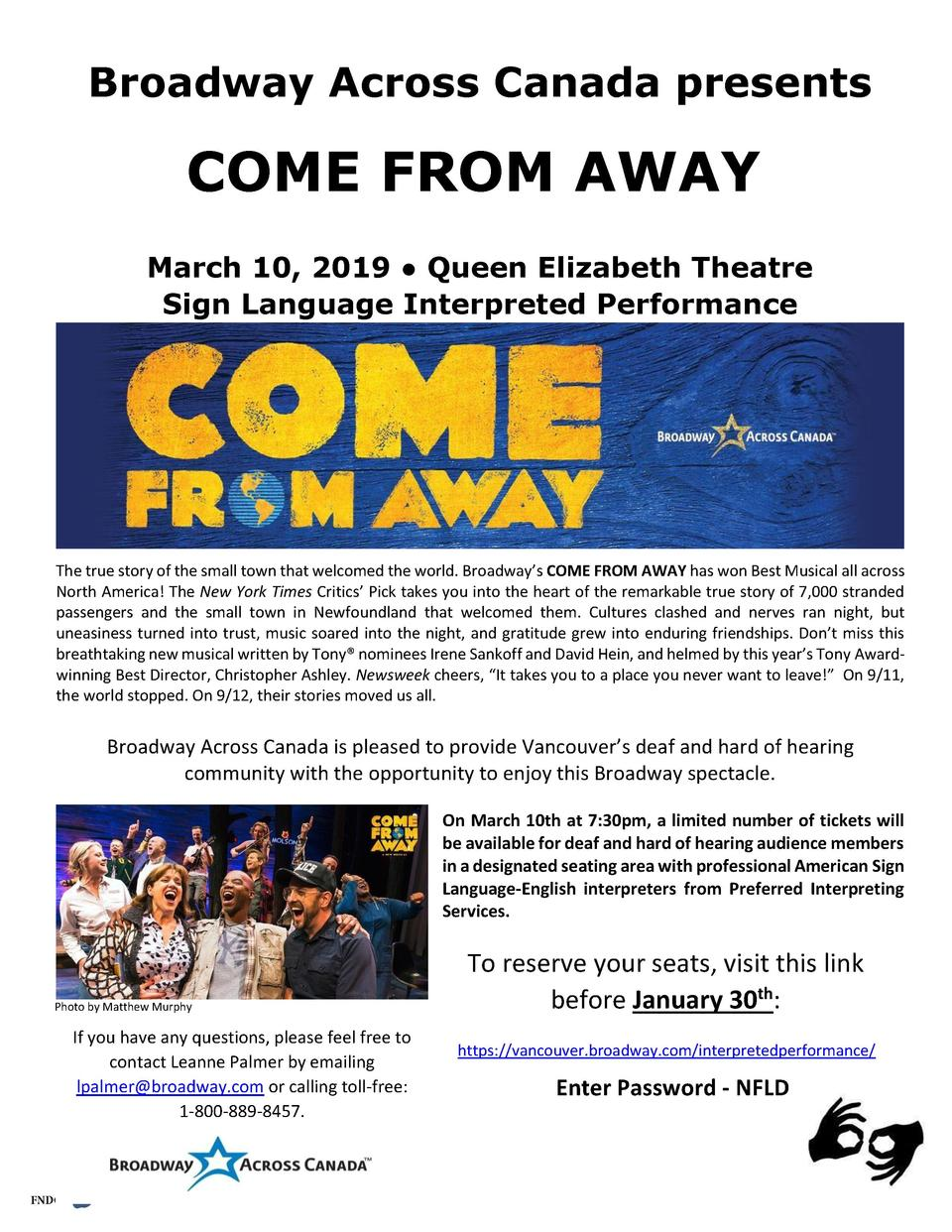 Broadway Across Canada presents  COME FROM AWAY March 10, 2019     Queen Elizabeth Theatre Sign Language Interpreted Perfo...