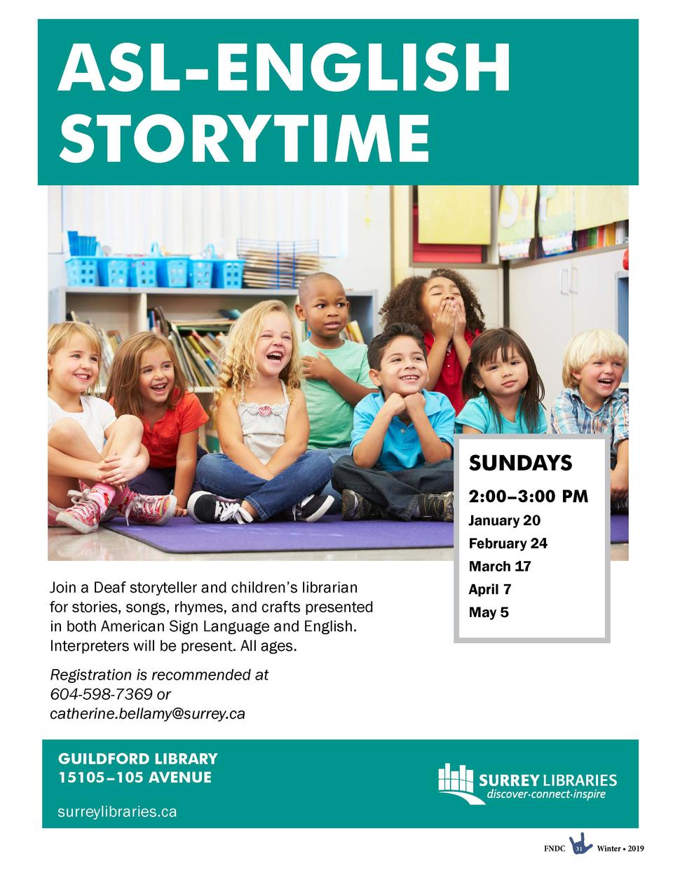 ASL-ENGLISH STORYTIME  SUNDAYS 2 00   3 00 PM January 20 February 24 March 17  Join a Deaf storyteller and children   s li...