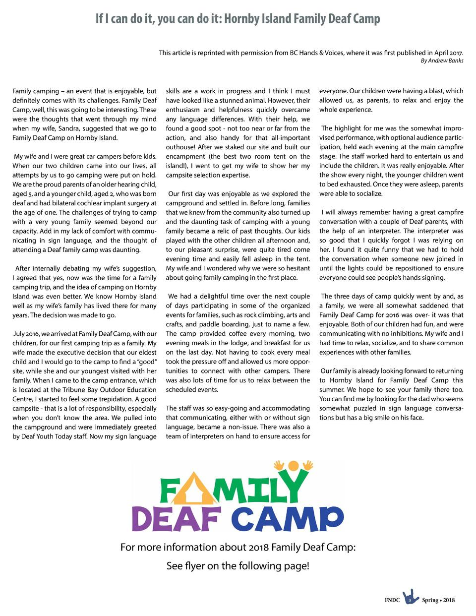 If I can do it, you can do it  Hornby Island Family Deaf Camp This article is reprinted with permission from BC Hands   Vo...