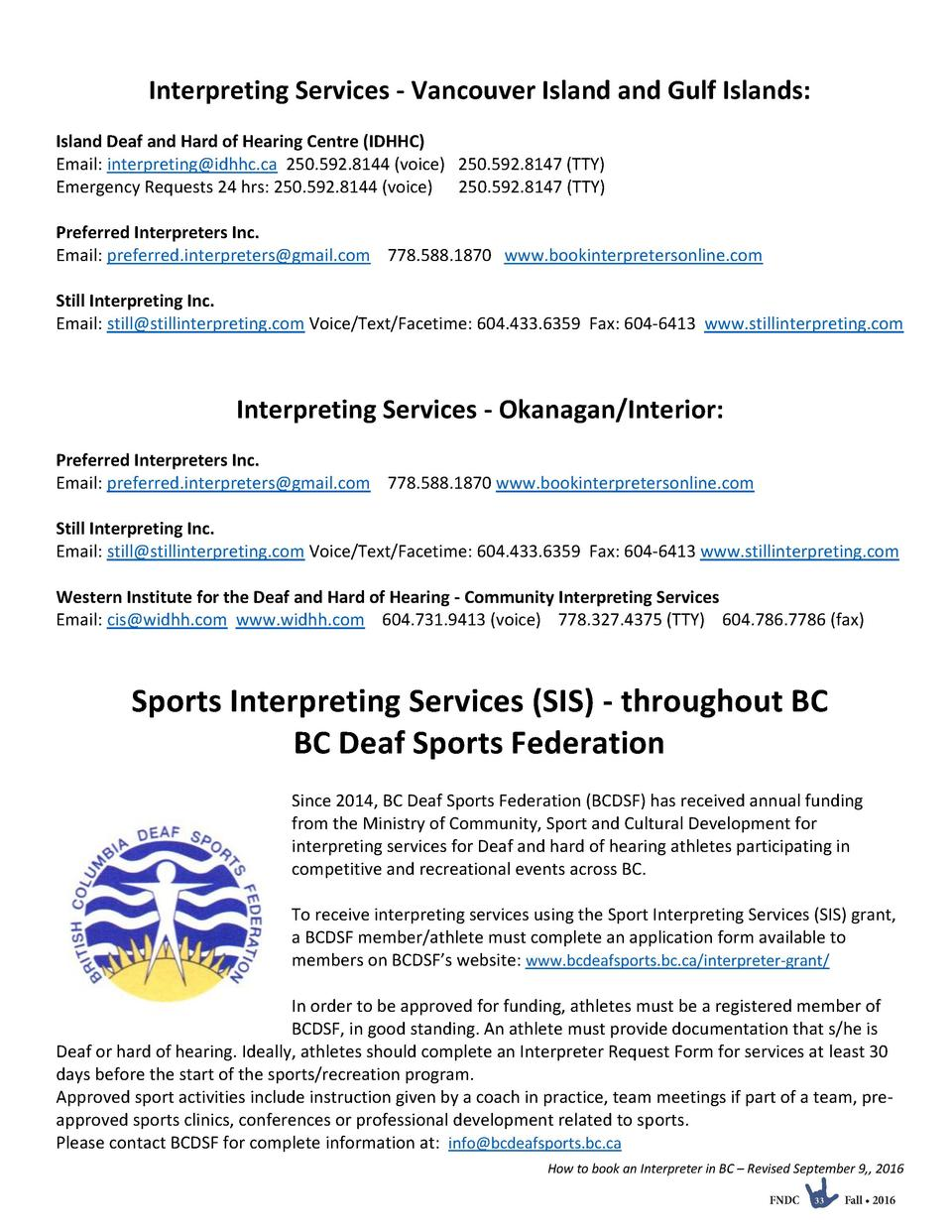 Interpreting Services - Vancouver Island and Gulf Islands  Island Deaf and Hard of Hearing Centre  IDHHC  Email  interpret...