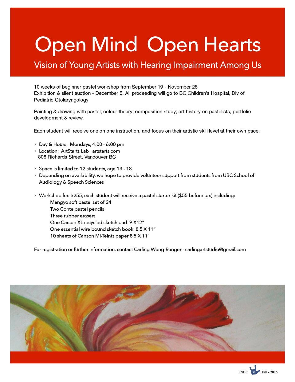 Open Mind Open Hearts  Vision of Young Artists with Hearing Impairment Among Us 10 weeks of beginner pastel workshop from ...