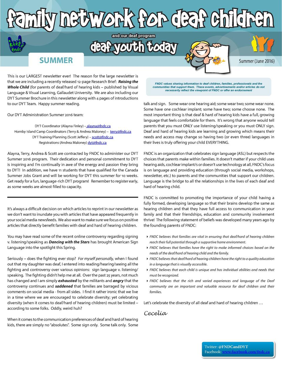 Family Network for Deaf Children and our deaf program  SUMMER  Deaf Youth Today  This is our LARGEST newsletter ever  The ...